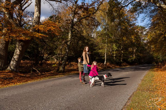 Mother with her son, daughter and dog, smiling in a road in the New Forest