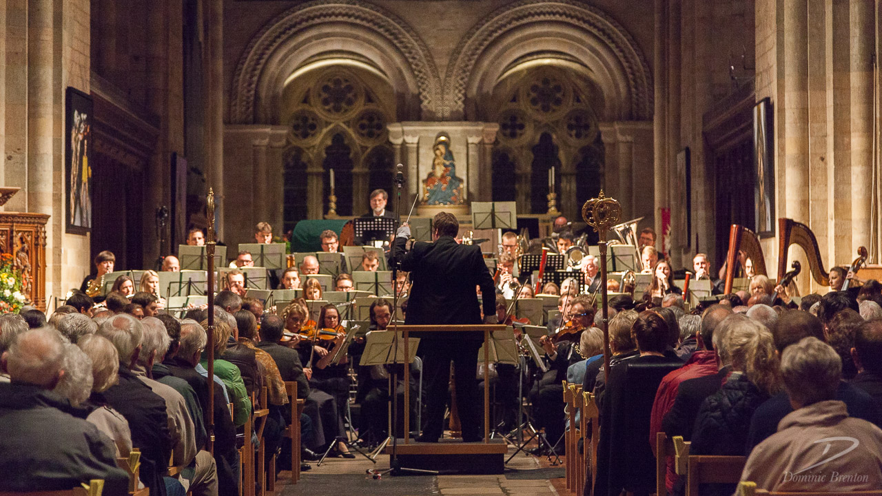Charity Symphony Orchestra in Romsey Abbey, viewed from the rear of the nave