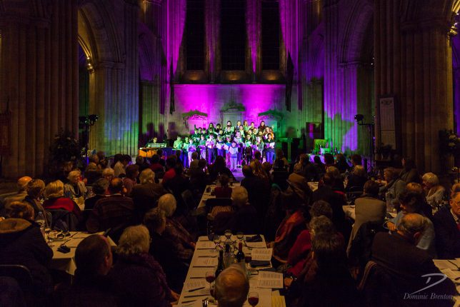 Choir singing at west end of Romsey Abbey beneath purple flood-lighting,, as the audience looks on