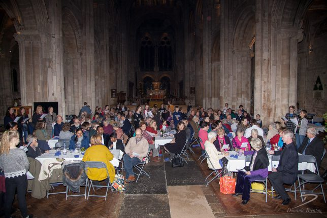 Friends of Romsey Abbey Music Epiphany supper guests in the Abbey nave