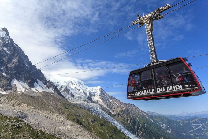 Cable car at bottom of descent from iconic mountain L'Aiguille du Midi
