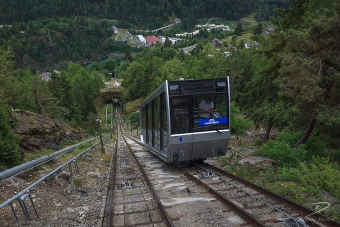 Carriage on very steep funicular railway