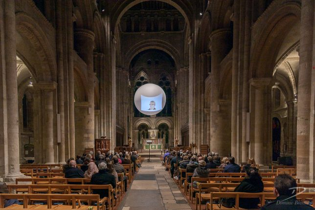 Film projected onto The Light in Romsey Abbey