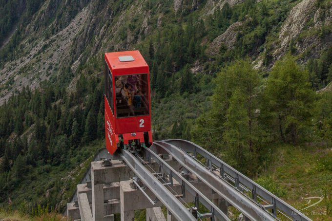 Little red carriage on funicular railway